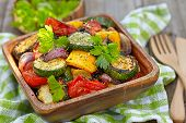 stock photo of zucchini  - Grilled vegetables  salad with zucchini - JPG