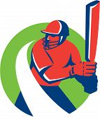 foto of bat  - Illustration of a cricket player batsman with bat batting set inside circle done in retro style on isolated background - JPG