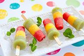 foto of popsicle  - Homemade pureed fresh fruit popsicles with strawberry - JPG