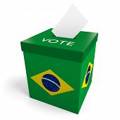 image of ballot-paper  - A ballot box bearing the flag of Brazil - JPG