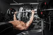 picture of arm muscle  - Brutal athletic man pumping up muscles on bench press - JPG