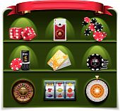 image of slot-machine  - Set of the icons representing casino related objects - JPG