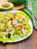 stock photo of avocado  - Salad with shrimps - JPG