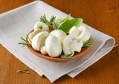 stock photo of portobello mushroom  - ceramic bowl with fresh mushrooms on the table with fabric linen - JPG