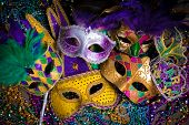 stock photo of mardi gras mask  - A group of venetian - JPG