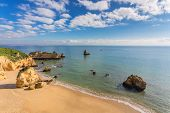 stock photo of vilamoura  - Beautiful sandy beach - JPG