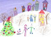 stock photo of sleigh ride  - Watercolor Children Drawing - JPG