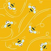 foto of honey bee hive  - Seamless pattern with funny flying bees on honey background - JPG