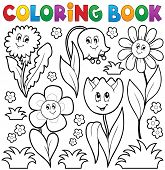 stock photo of six-petaled  - Coloring book with flower theme 6  - JPG