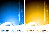 foto of octahedron  - Two abstract tech banners with waves  - JPG