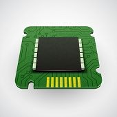foto of microchips  - Vector computer chip or microchip - JPG