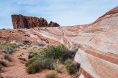 picture of valley fire  - the wave feature sandstone desert landscape in Valley of Fire State Park in Nevada - JPG