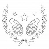 stock photo of grenades  - Contour line art logo isolated on white with grenades and stars in laurel wreath - JPG