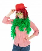 pic of bowler  - Woman in carnival costume with wig and bowler isolated over white - JPG
