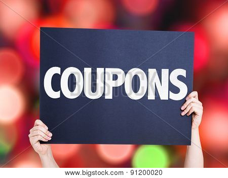 Coupons card with bokeh background