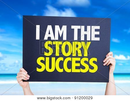 I Am the Story Success card with beach background