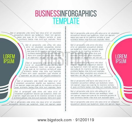 Vector business infographic template with a lignt bulb. Suitable for instruction or presentation