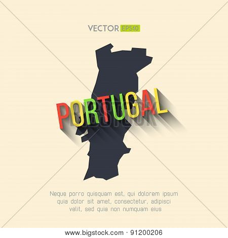 Vector portugal map in flat design. Portuguese border and country name with long shadow