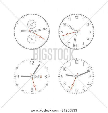Modern digital watch dials template. Isolated on white