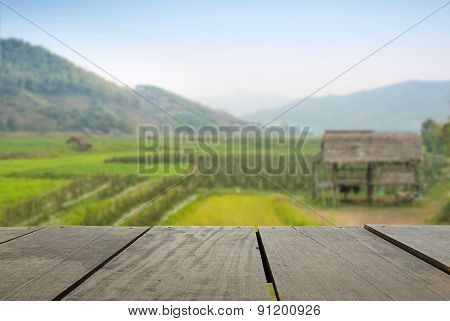 Defocused And Blur Image Of Terrace Wood And Terrace Field And S