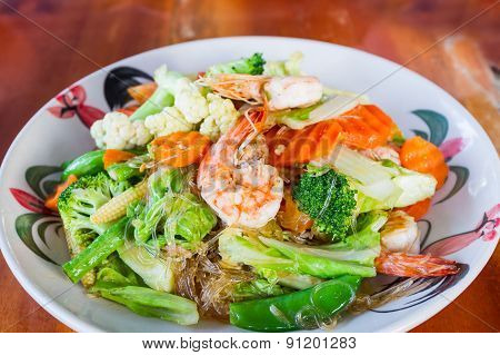 Vermicelli Fried With Vegetable And Seafood,thai Food.