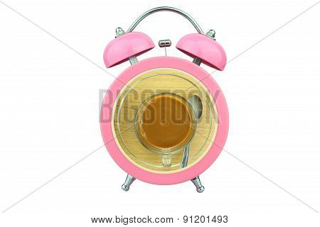 Conceptual Art : Coffee Time : Coffee Within Pink Alarm Clock Isolated On White Background