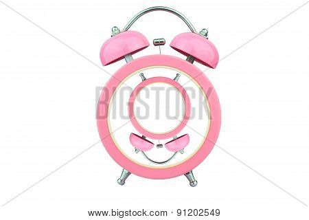 Conceptual Art : Revers Pink Alarm Clock Without Number Within Pink Alarm Clock Isolated On White Ba