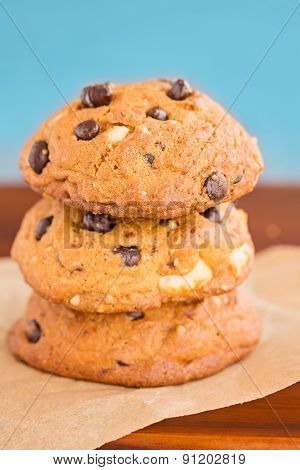 Stack Of Three Chocolate Chip Cookies
