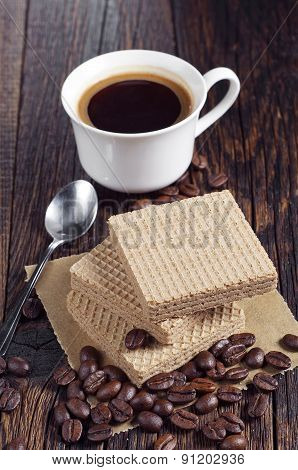 Sweet Wafers And Coffee