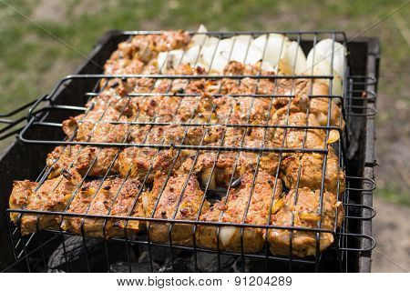 Beef Shashlik Cooking
