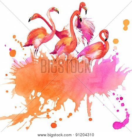Tropical flowers, leaves and exotic bird. watercolor illustration.