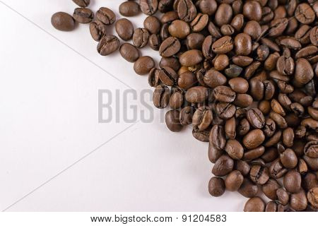 Loose Coffee Beans On White Background