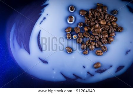 Coffee Beans Spilt On Milk