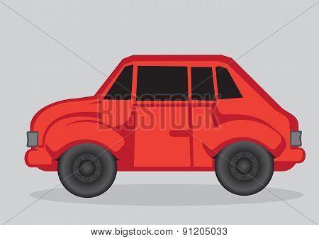 Red Car Cartoon Vector Illustration