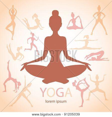 Three Contours Women Yoga Poses Beige Background