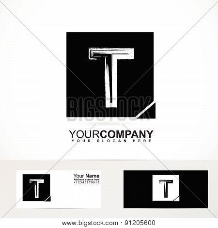 Grunge alphabet logo letter T