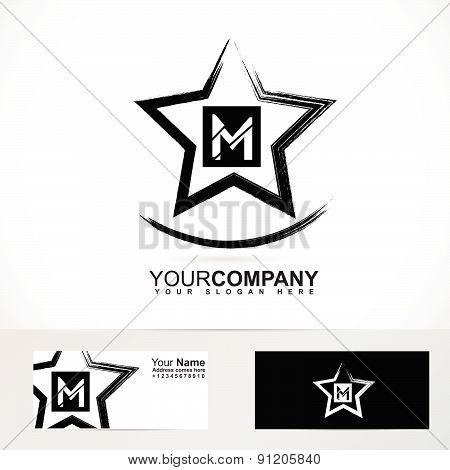 Grunge star letter M logo