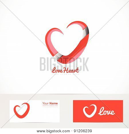 Love red heart logo