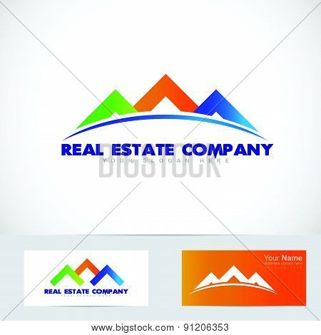 Colored house real estate logo
