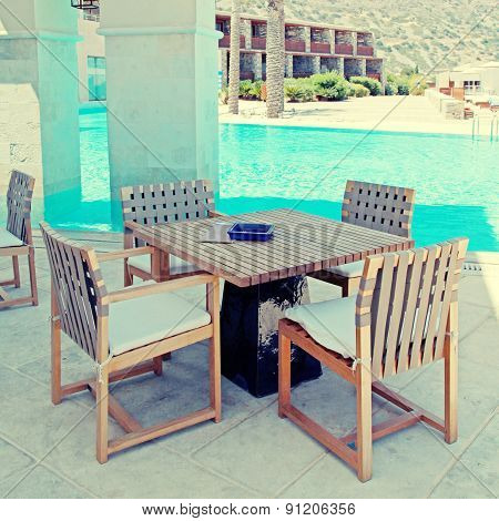 Summer Hotel Terrace With Pool And Outdoor Furniture (Greece)