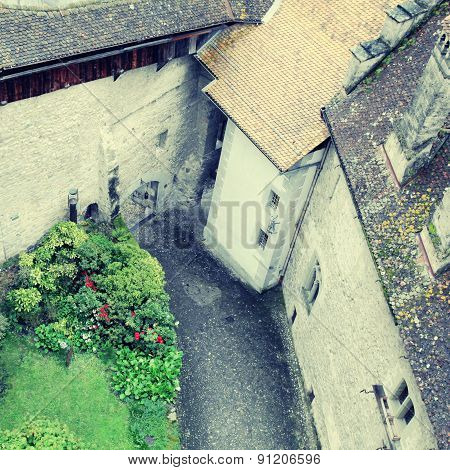 Courtyard Of The Chillon Castle ,Montreux, Switzerland.