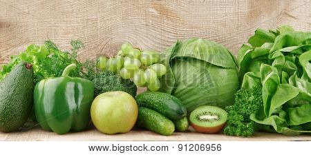 Set Of Green Vegetables And Fruits