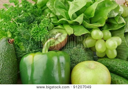Set Of Green Vegetables And Fruits For Detox