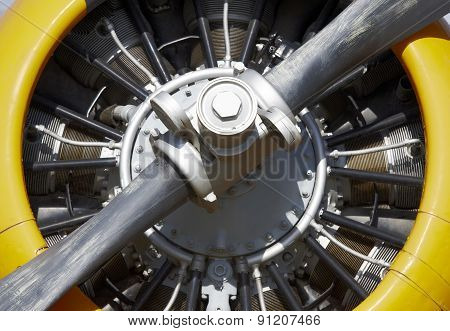 Aircraft Propeller Engine Detail With Blade