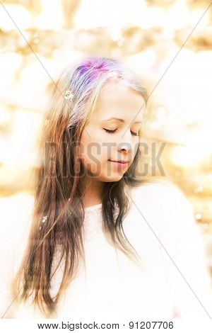 Portrait Of Cheerful Fashionable Woman In Spring Blooming Tree