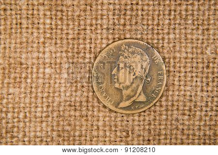 Vintage Bronze Coin With Portrait On The Old Cloth