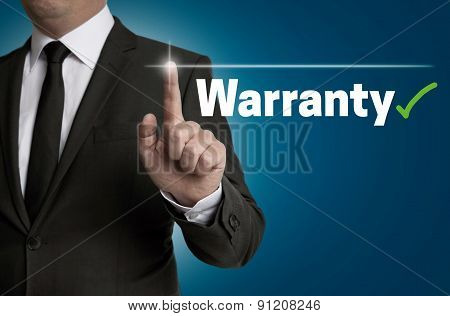 Warranty Touchscreen Is Operated By Businessman