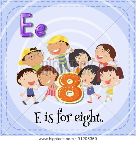 Flashcard letter E is for eight