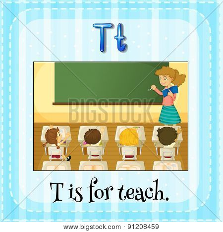 Flashcard letter T is for teach