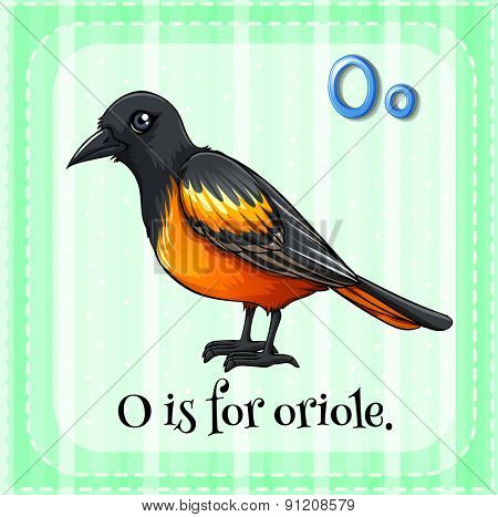 Flashcard letter O is for oriole